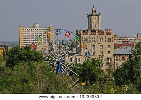 Volgograd Russia - May 27 2015: View of the Ferris wheel at the Komsomol Park in Volgograd