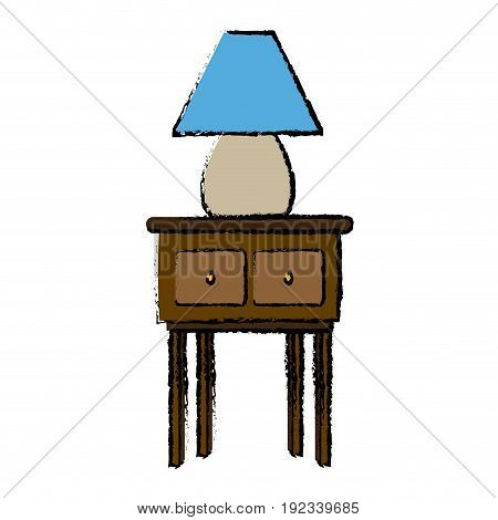 lamp light in wooden table wooden furniture vector illustration