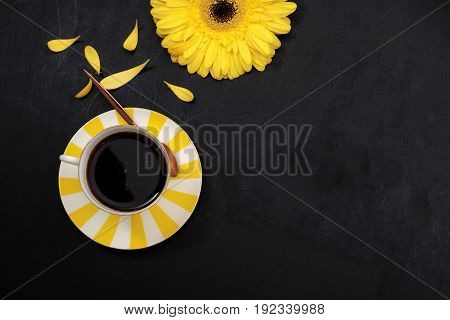 Yellow Coffee Cup And Flower. Flat Lay. Top View