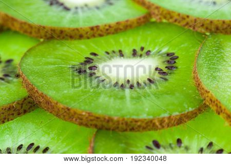 Juicy sliced kiwi slices in the studio