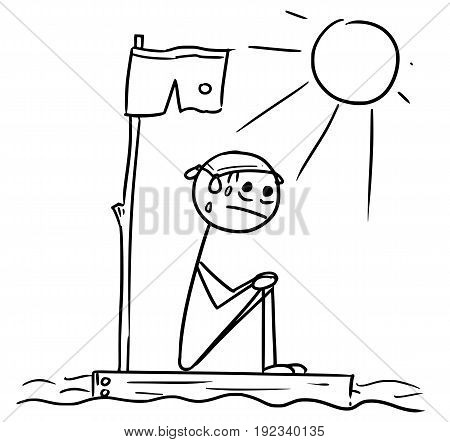 Cartoon vector stickman man lost sitting naked on the piece of wood raft from the ship wreck in the center of the ocean with Sun shining