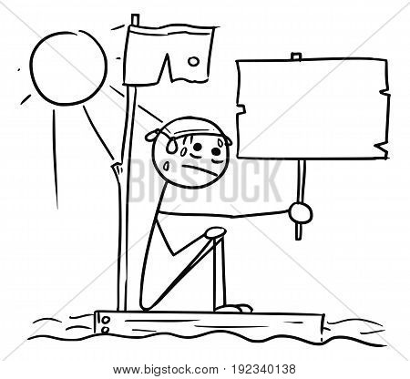 Cartoon vector stickman man lost with empty sign sitting naked on the piece of wood raft from the ship wreck in the center of the ocean with Sun shining