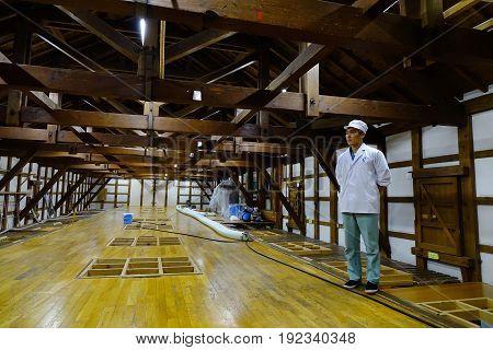 Inside Of Sake Wine Factory In Akita, Japan