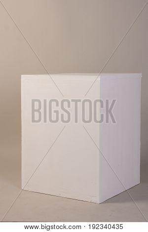 White Photo Cube Isolated On Gray Background