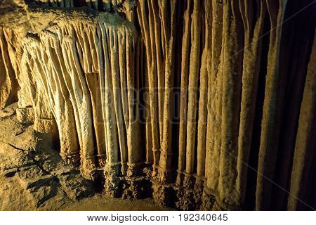Cave stalactites, stalagmites, and other formations at Luray Caverns, Virginia