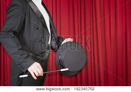 Magician On Stage, Indoors, Color Image, Red Background