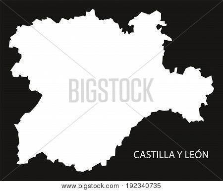 Castilla Y Leon Spain Map Black Inverted Silhouette Illustration