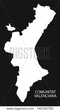 Comunitat Valenciana Spain Map Black Inverted Silhouette Illustration