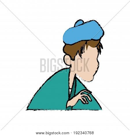 sick man unhappy character healthcare cartoon vector illustration