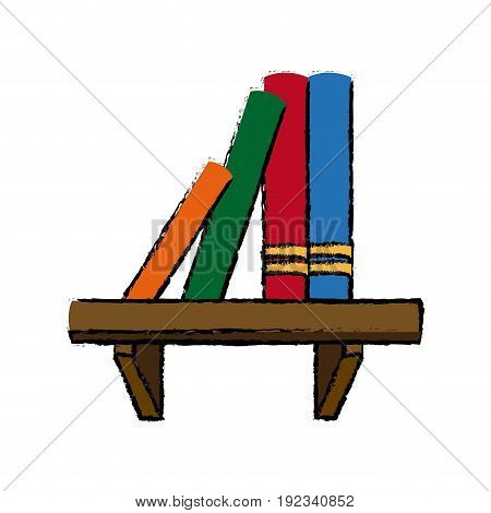 bookshelf literature learn encyclopedia library vector illustration