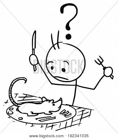 Cartoon vector stickman surprised male tourist to whom was served rat as food dish meal launch with question mark above his head