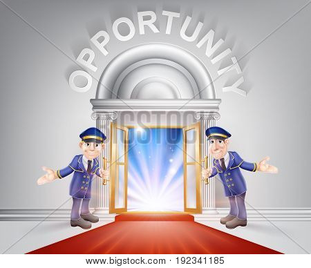 Opportunity Door concept of a doormen holding open a red carpet entrance to opportunity with light streaming through it.