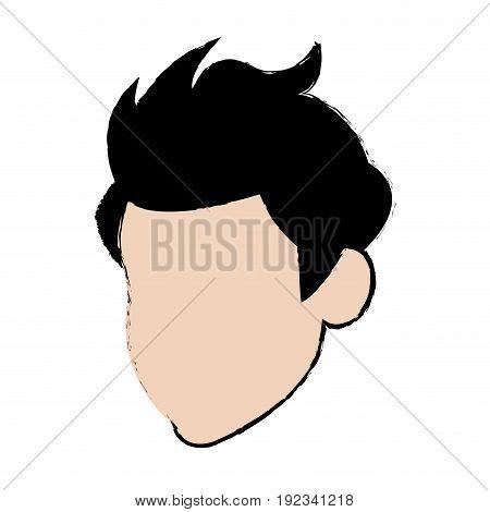 cartoon head man profile avatar vector illustration