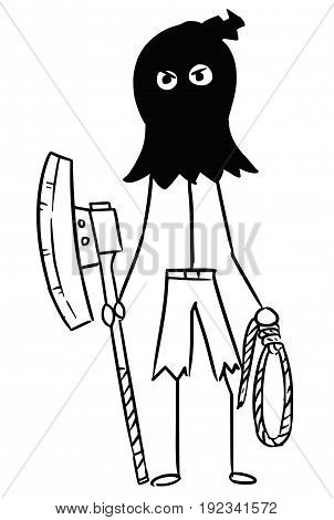 Cartoon vector stickman male executioner hangman in black hood posing with large axe and rope