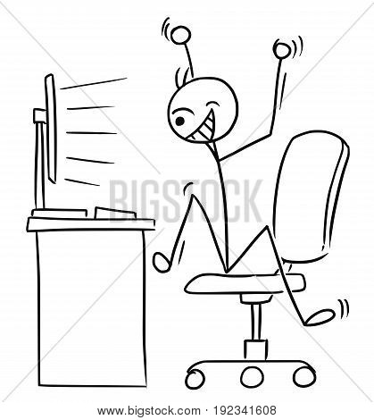 Cartoon vector doodle stick man office worker is watching the computer screen and jumping happy with arms up celebrating some success