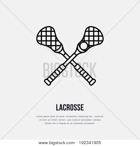 Lacrosse vector line icon. Ball and sticks logo, equipment sign. Sport competition illustration.