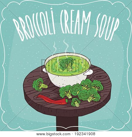 Broccoli Cream Soup With Fresh Vegetables
