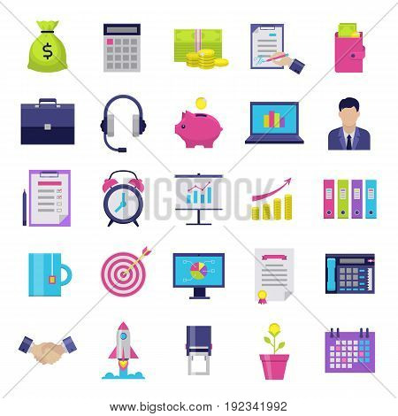 Business flat icons set. Modern icons for internet marketing, business and finance, sales and e-commerce. Interface elements on white background. Vector illustration