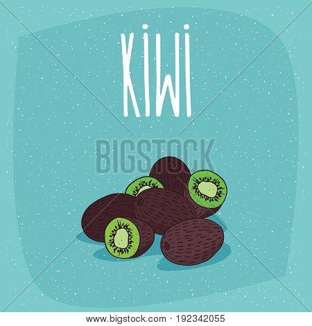 Isolated Ripe Kiwi Fruits Whole And Cut