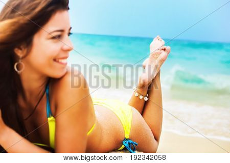 Gorgeous Woman Bikini Relaxing Fun Tropical Beach