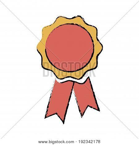 rosette medal winner prize ribbon decoration vector illustration