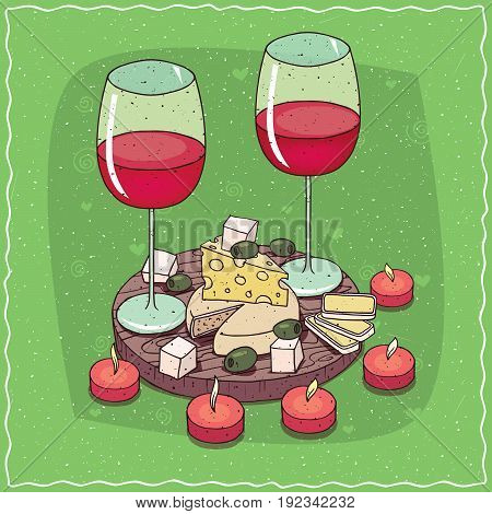 Plate With Red Wine And Different Cheeses