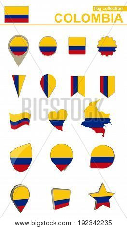 Colombia Flag Collection. Big Set For Design.