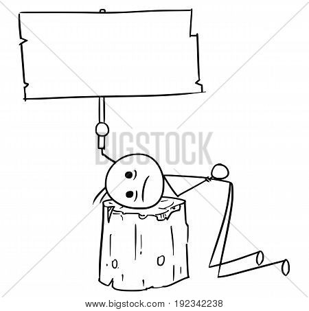 Cartoon vector stick man men sentenced to death with head placed on wooden execution block and holding empty sign