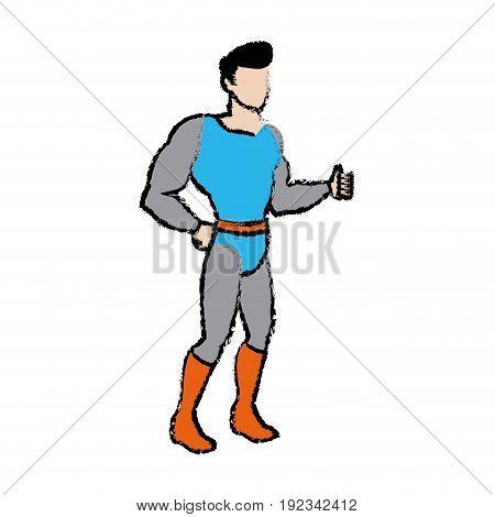 cartoon superhero wearing suit standing heroic friendly vector illustration