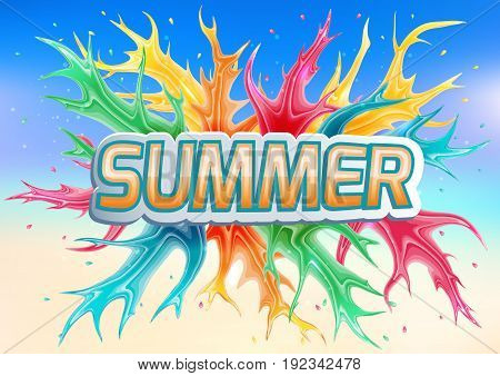 Summer sign on a colored background.Vector illustration.