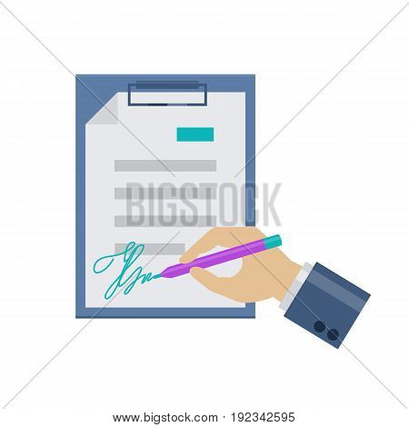 Flat document signing icon. Signature on paper. Web and mobile design element. Office, business symbol. Vector colored illustration isolated on white background