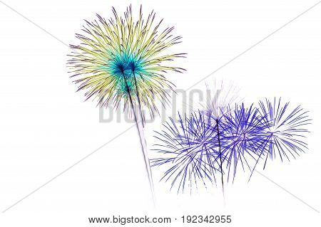 Celebrate colorful fireworks and on a white backdrop.