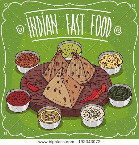 Traditional Indian Fast Food Samosa With Sauces