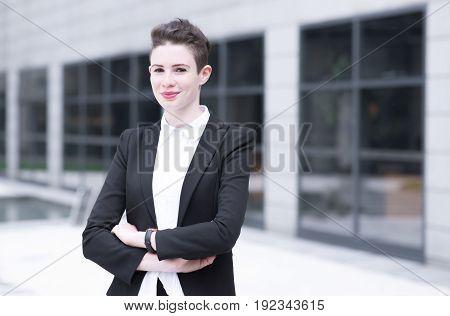Modern Business Woman Crossing Hands