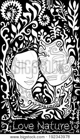 Vector black and white girl and guy on the background of leaves and twigs coloring page