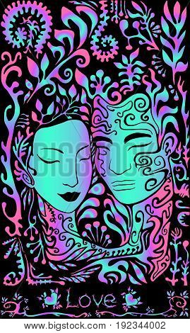 Vector illustration of a beautiful girl face and guy on a background of leaves psychedelic bright neon colors on a black background gently shimmer throughout illustration
