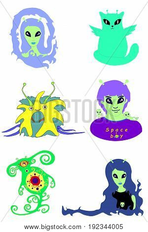 Collection cartoon aliens. Set vector extraterrestrial faces isolated on white background. Alien friend fantastic monster.