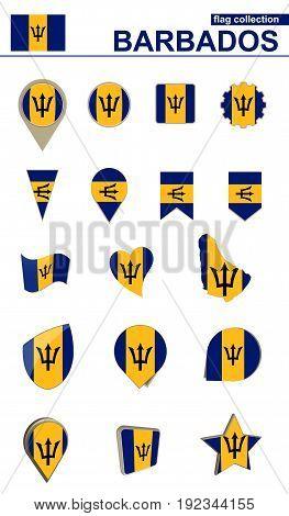 Barbados Flag Collection. Big Set For Design.
