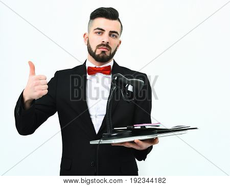 Boss In Official Suit And Red Bow Shows Thumbs Up