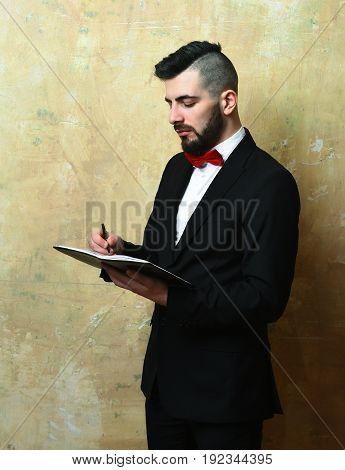 Bearded Businessman Plans