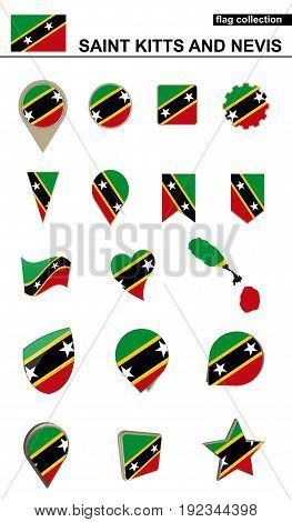 Saint Kitts And Nevis Flag Collection. Big Set For Design.