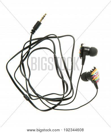 rainbow earphone with owl design isolated on white
