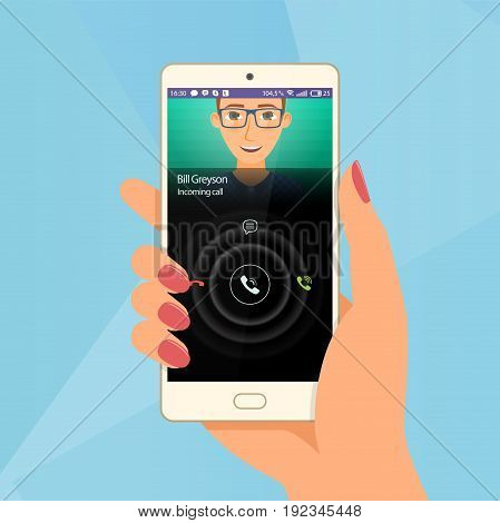 Incoming call via mobile application on smartphone. Hand hold a phone. Vector illustration