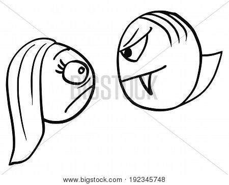 Cartoon vector of frightened and scared woman who met the vampire