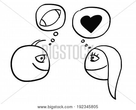 Cartoon vector of difference between man and woman thinking about football rugby ball and heart symbol of love and relationship