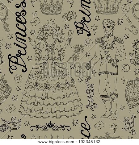 Vintage seamless background with prince and princess concept. Graphic vector illustration, doodle sketch with old design elements. Suitable for invitation, greeting cards