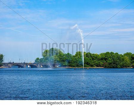 Alsterfontaene (alster Fountain) At Binnenalster (inner Alster Lake) In Hamburg Hdr