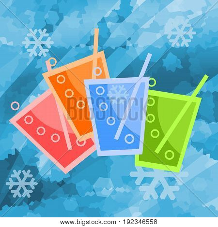 Colorful cold fresh drinks in ice background