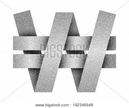 Stippled South Korean Won sign icon. KRW currency symbol. Vector textured illustration on white background.