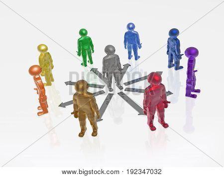 Color men on white reflective background 3D illustration.